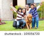 happy family having fun outside ... | Shutterstock . vector #105056720