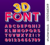 3d retro sign alphabet. letters ... | Shutterstock .eps vector #1050568349