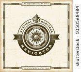 vintage navigator label | Shutterstock . vector #1050568484