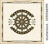 vintage nautical traveler label | Shutterstock . vector #1050568490