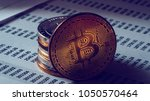 bitcoin cryptocurrency ... | Shutterstock . vector #1050570464