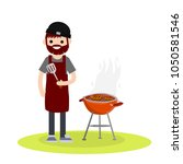 man prepares barbecue meat on a ... | Shutterstock .eps vector #1050581546