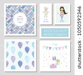 birthday card templates set.... | Shutterstock .eps vector #1050592346