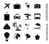 set travel holiday black icons | Shutterstock .eps vector #1050596306