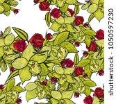 vector seamless flower pattern...   Shutterstock .eps vector #1050597230