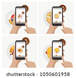 hand holding smartphone and... | Shutterstock .eps vector #1050601958
