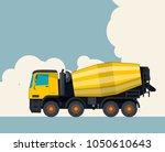 big yellow concrete mixer truck ... | Shutterstock .eps vector #1050610643