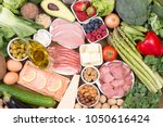 food recomended on low carb... | Shutterstock . vector #1050616424