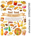 poster fast food. salted nuts ... | Shutterstock .eps vector #1050625700