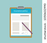 insurance policy with the pen...   Shutterstock .eps vector #1050632990