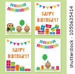 birthday cards with cute owls.... | Shutterstock .eps vector #1050635414