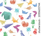 Vector seamless pattern with origami planes, flowers, animals and paper boats