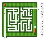 top view maze. vector aerial... | Shutterstock .eps vector #1050643784