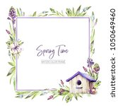 hand painted square frame with... | Shutterstock . vector #1050649460