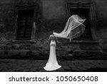 the bride is standing next to... | Shutterstock . vector #1050650408