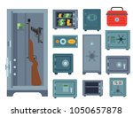 money safe steel vault door... | Shutterstock .eps vector #1050657878