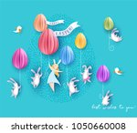 happy easter card with bunny ... | Shutterstock .eps vector #1050660008