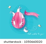 happy easter card with bunny ... | Shutterstock .eps vector #1050660020