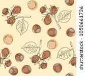 hazelnut seamless pattern....   Shutterstock .eps vector #1050661736