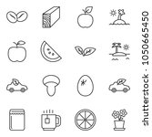 thin line icon set   plank... | Shutterstock .eps vector #1050665450