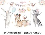Stock photo cute baby giraffe deer animal nursery mouse and bear isolated illustration baby design watercolor 1050672590