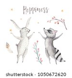 cute jumping raccoon and bunny... | Shutterstock . vector #1050672620