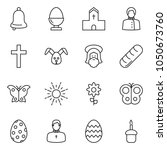 thin line icon set   egg stand... | Shutterstock .eps vector #1050673760