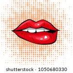 pop art colorful design biting... | Shutterstock . vector #1050680330