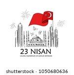 vector clipart cocuk bayrami 23 ... | Shutterstock .eps vector #1050680636