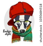 vector badger with glasses  red ... | Shutterstock .eps vector #1050684518