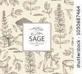background with sage  branch of ... | Shutterstock .eps vector #1050687464