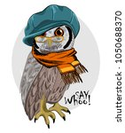 Stock vector vector owl with glasses green cap and orange scarf hand drawn illustration of dressed owl 1050688370