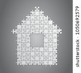 house puzzle many pieces.... | Shutterstock .eps vector #1050692579