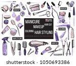 hair cut  manicure  makeup ... | Shutterstock .eps vector #1050693386