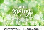 hello spring  text inscription.... | Shutterstock .eps vector #1050695060