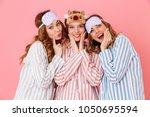 three beautiful young girls 20s ... | Shutterstock . vector #1050695594