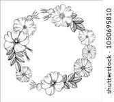 floral wreath. black and white... | Shutterstock .eps vector #1050695810