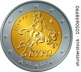 greek money gold and silver... | Shutterstock .eps vector #1050698990