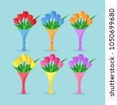 bouquet set of red tulip  roses ... | Shutterstock .eps vector #1050699680