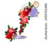 bouquet of red roses in a... | Shutterstock .eps vector #1050702380