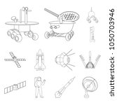 space technology outline icons... | Shutterstock .eps vector #1050703946
