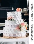 wedding cake. close up photo of ... | Shutterstock . vector #1050707036