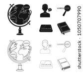 a translator in headphones  a... | Shutterstock .eps vector #1050707990