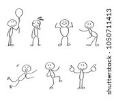 set of different stick figures... | Shutterstock .eps vector #1050711413