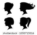 vector set of female profile... | Shutterstock .eps vector #1050715016