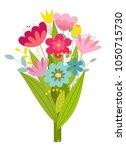 cute stylized bouquet of... | Shutterstock .eps vector #1050715730