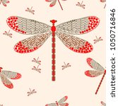 Stock vector seamless abstract pattern with dragonfly vector illustration pattern for card invitation 1050716846