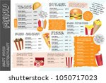 fast food menu for restaurant.... | Shutterstock .eps vector #1050717023