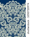 horizontally seamless blue lace ... | Shutterstock .eps vector #1050720974