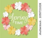 paper flowers on green... | Shutterstock .eps vector #1050721028